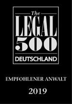 Legal 500 - Empfohlener Anwalt